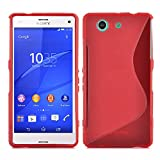 Cadorabo Hülle für Sony Xperia Z3 Compact Hülle in Inferno Rot Handyhülle aus flexiblem TPU Silikon im S-Line Design Silikonhülle Schutzhülle Soft Back Cover Case Bumper Inferno-Rot