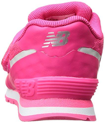 NEW BALANCE - Scarpa ginnica 574 Infant fucsia, in tessuto sintetico, con chiusura a strappo, Bambina, Ragazza Rosa
