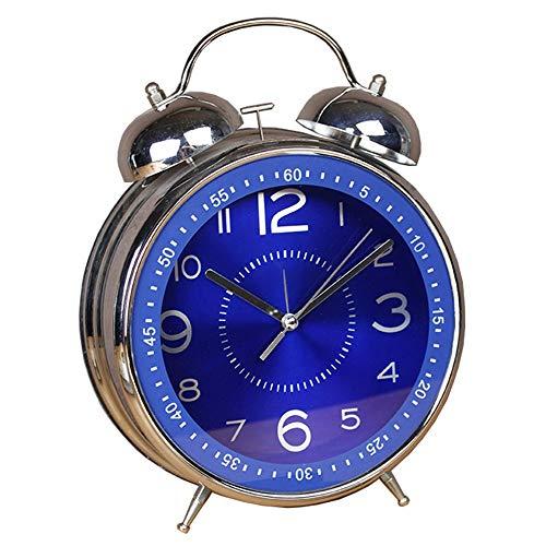 Bastid Salon créatif muet Maison rétro Chambre métal Vraiment sonner réveil (8 Pouces) 23,5 * 30,7 * 8,5 cm, Bleu