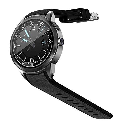 OOLIFENG Bluetooth Smartwatch Telefon Runden Berührungsempfindlicher Bildschirm Wasserdicht mit GPS Herzfrequenz-Messgerät Schrittzähler Android 5.1 , Black