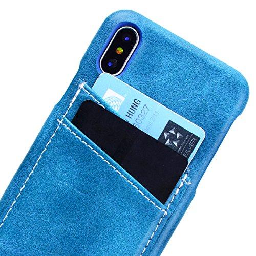 Yokata iPhone 8 Hülle Hardcase Ultra Dünn Slim Handyhülle Schutz Handytasche Backcover Blume Muster Schutzhülle mit Kartenfach Anti-Kratzer Stoßfest Hart PC Handy Tasche Schale Etui Rückschale für iPh Shallow Blau