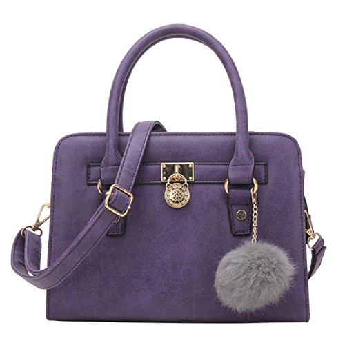 Frau Gezeiten Schulter Diagonal Handtasche Matt-Pelz-Kugel,Purple-OneSize