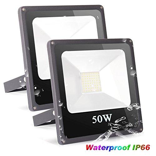 Roleadro Focos Led 50W IP66 Impermeable SMD3030 Proyector Led Exterior con Reflectores Iluminación Exterior jardín 6500K Negro 2 Piezas