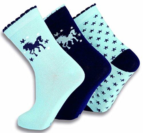 Preisvergleich Produktbild SOCKS PUR Mädchen Söckchen Pferd - Stern und uni Motiv 3er PACK (27/30, blau-marine-blau MIX)