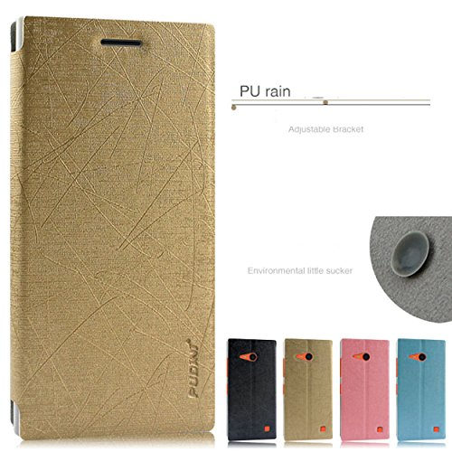 Higar Pudini Flip Back Cover Case For Micromax Yu Yureka Plus - Gold - Free Shipping