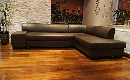 """Echtleder Ecksofa \""""LONDON II\"""" 275 x 200 Sofa Couch mit Schlaffunktion und Bettkasten . Braun Echt Leder \""""Hermes Choco\"""" Eck Couch große Farbauswahl"""
