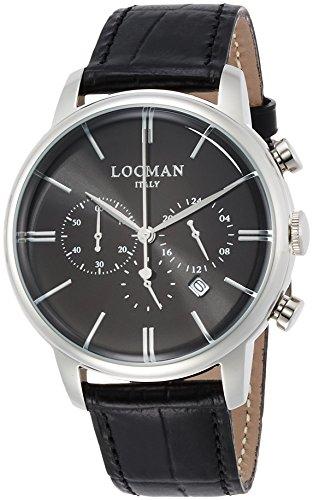 Locman 1960Dolce Vita/Uhr/Herren Zifferblatt schwarz/Gehäuse Stahl/Armband Leder Schwarz