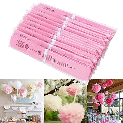 "CLE DE TOUS - 10pcs Flores de papeles Pompones para Boda Fiesta Cumpleaños Flores del 24cm 10"" Color Rosa"