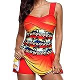Overdose Regenbogen Damen Übergröße Bikinis Tankini Swim Kleid Badeanzug Beachwear Gepolsterte Bademode Frauen Plus Size Beachwear Badeanzüge Bikini Set (B-h-rot,EU48)