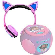 DURAGADGET Auriculares plegables estéreo con diseño de orejas de gato en color rosa para Reproductor de CD Doctora Juguetes | Frozen | Spider-Man | Cars | Princesas Disney`| Avengers