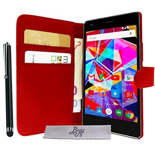 Luxus Schutzhülle rot Stand mit Brieftasche Archos Diamond S + EINGABESTIFT und 3 DISPLAYSCHUTZFOLIEN GESCHENKT!!