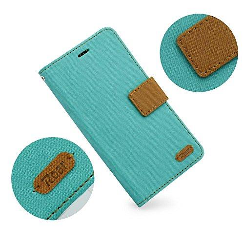 """BOOK CASE ROAR SIMPLY für Apple iPhone 7 Plus 5.5"""" Cover Handy Tasche Flipcase Etui Buchform Kunststoff Silikon Halterung für Kreditkarten (mint) mint"""