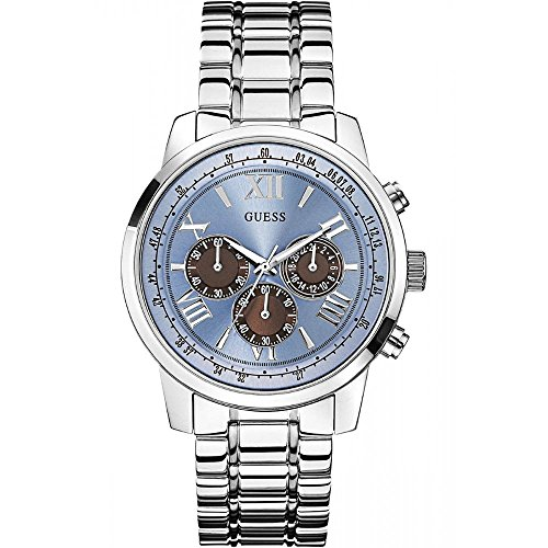 Guess (GVSS5) Men's Quartz Watch with Blue Dial Analogue Display and Silver Stainless Steel Bracelet W0379G6