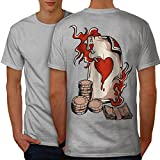 wellcoda Asso Carta Poker Casinò Uomini Grigio XL T-Shirt Indietro