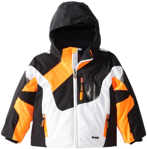Spyder Boy 's Mini Leader Jacke, Jungen, White/Black/Neon Orange (Mini Kids Jacket)