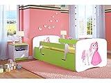 Kocot Kids Kinderbett Jugendbett 70x140 80x160 80x180 Grün mit Rausfallschutz Matratze Schublade und Lattenrost Kinderbetten für Mädchen und Junge - Prinzessin und Pferd 140 cm