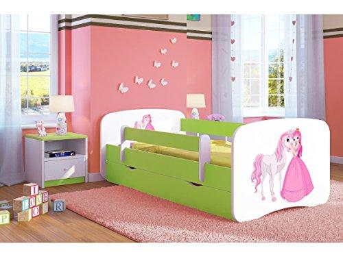 etagenbett haus Kocot Kids Kinderbett Jugendbett 70x140 80x160 80x180 Grün mit Rausfallschutz Matratze Schublade und Lattenrost Kinderbetten für Mädchen und Junge - Prinzessin und Pferd 140 cm