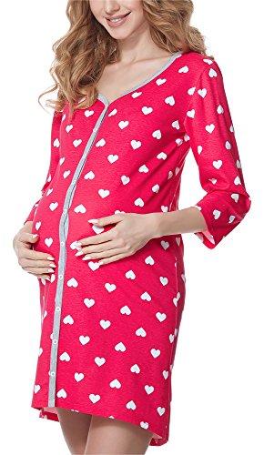 Bellivalini Premamá Camisón Vestido Lactancia Maternidad Mujer BLV50-115 Rosa/Corazones/Melange...