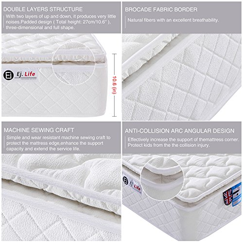 4FT6 Double 9-Zone Memory Foam Mattress with Pocket Springs – Orthopaedic Mattress – 10.6-Inch