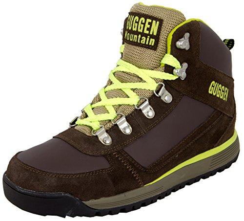 GUGGEN Mountain Herren Wanderschuhe Bergschuhe Outdoorschuhe Walkingschuhe Outdoor M010, Farbe Braun-Gelb, EU 46