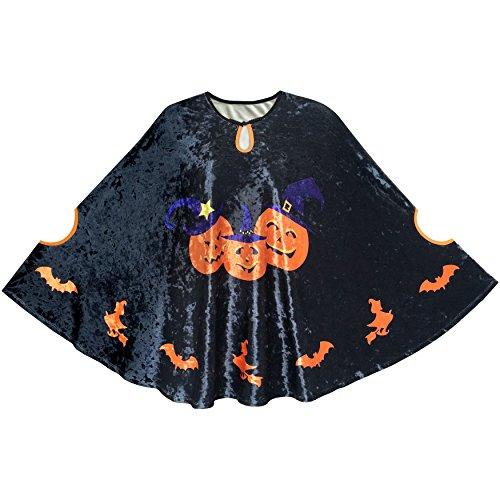 Halloween Kap Samt Mantel Kürbis Witch Schläger Kostüme Zauberer Gr. (Mädchen Kostüme 118 Halloween)