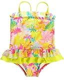 CharmLeaks Baby Mädchen Einteiler Badeanzug Säugling Bademode Kokospalme Gelb 12-18 Monate