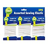 Elastic 22 Meters by Craft Central | 2 x 3 Packs of 5mm, 7mm and 10mm Widths of White Elastic for Sewing, Waistbands, Arts & Craft