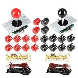 EG STARTS 2 Spieler Arcade Spiel Kit Teil USB Pc Joystick für Mame Spiel DIY Null Verzögerung USB Encoder + 2x 5pin 8 Way Stick + 20 Drucktasten Rot + Schwarz Kits Support Windows & Raspberry Pi
