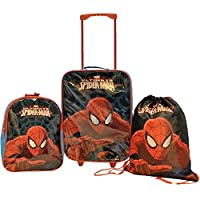 Marvel Comics Spiderman 3 Piece Childrens Kids Travel Luggage Set Trolley Bag Suitcase Backpack Drawstring Shoes Swim Gym Bag