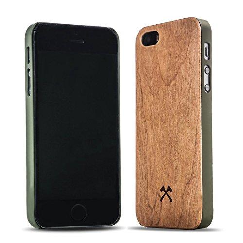 Woodcessories - EcoCase Classic - Premium Design Case, Cover, Hülle für das iPhone aus FSC zert. Holz (iPhone 5/ 5s/ SE, Kirsche/ grün) (Iphone Holz 5s Aus Case)