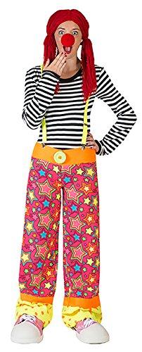 Luxuspiraten - Clown Latzhose Kostüm im Stern-Design, L, Mehrfarbig