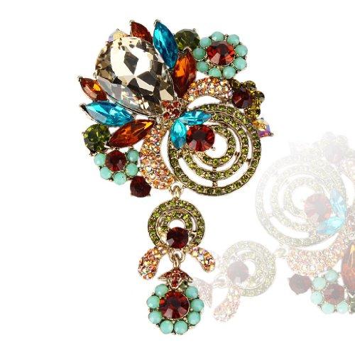 EVER FAITH® Fantaisie- Broche Pendentif Fleur Goutte d'Eau Cristal Autrichien Multicolore