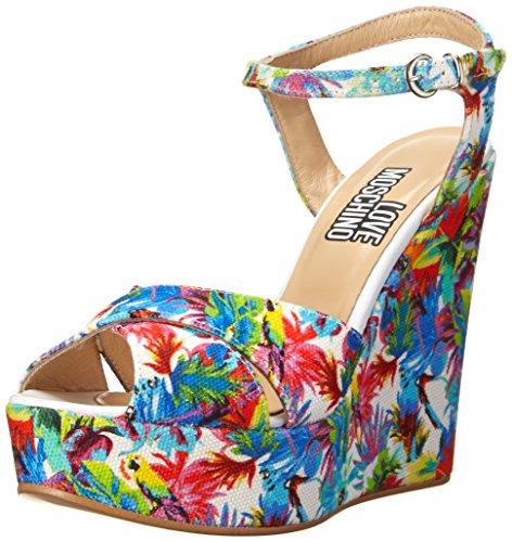 Sandali Love Moschino in tessuto floreale multicolor, 40