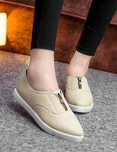 ShangYi gyht Scarpe Donna-Mocassini-Tempo libero / Casual-Comoda-Piatto-Finta pelle-Nero / Beige beige