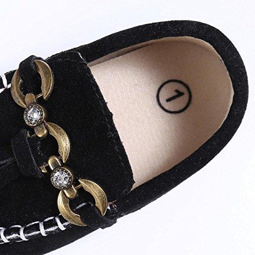 Jamicy® Slip Soft Prewalker Krippe Schuhe Niedliche Kleinkind Schwarz Loafers Monate Schwarz On 12~18 Comfort Baby qXz4X