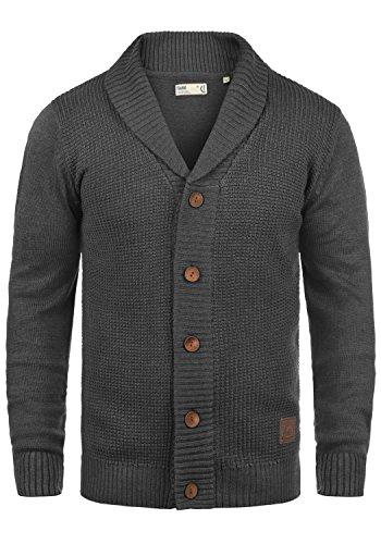 SOLID Torres Herren Strickjacke Cardigan Feinstrick mit Schal-Kragen und V-Ausschnitt aus hochwertiger Baumwollmischung Meliert, Größe:M, Farbe:Dark Grey Melange (8288)
