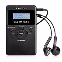 EXMAXŽ Mini Portable DAB & FM Stereo Radio Digital Audio Broadcast Pocket Receiver 87.5-108MHz with rechargeable Battery