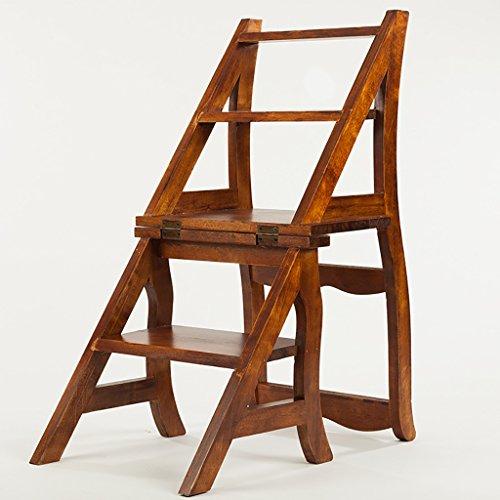 PENGFEI Pliable Stool Ladder Multifonction Usage Double Matériau De Haute Qualité Couleur Du Bois Massif 4 Étapes 39 * 45 * 85 CM