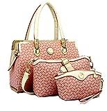 Di Grazia Women's 3 in 1 Combo Of Handbag Satchel, Sling bag & Wrist Pouch (Pink, Pink-Candy-3in1-Combo-Handbag)