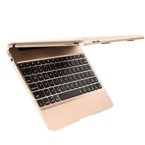 Tastatur Fall, F06 Dünn Aluminum Bluetooth Tastatur mit Schutzhülle Abdeckung und 7 Farbe Hintergrundbeleuchtung für iPad Air 2 und Pro 9.7 [QWERTZ deutsches Tastaturlayout] Gold ()