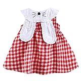 Livoral Mädchen kleiden die Kleidung der Kleinkindbabykinder ärmelloses Kariertes Kaninchenhäschenohr-Prinzessinkleid(Rot,100)