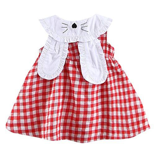 Innerternet Kleinkind-Baby scherzt Mädchen-Ärmellos Plaid-Kaninchen-Häschen-Ohr-Prinzessin Dresses mit Puppenkragen Kaninchen langes Ohr Kleid Prinzessin Rock (Elfenbein Blumen-mädchen-kleider Tüll)