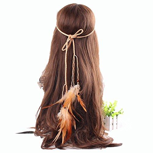 Indianer Feder Kopfschmuck mit Kordelzug Pfau hippie Haarband -