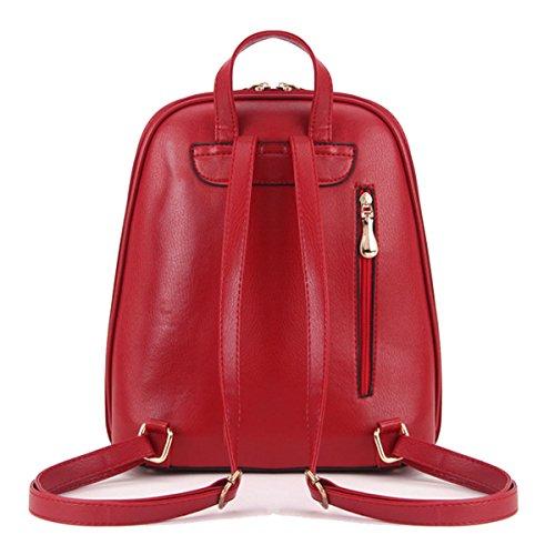 Art Und Weise Echtes PU-Leder Rucksack Krokodil College-Rucksack Für Frauen Multicolor Red