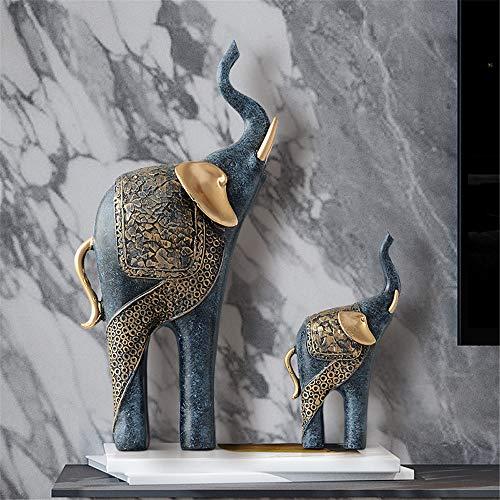 JIASHU Harz Feng Shui Elefant Tierstatuen, Dekoration Antike Hauptdekoration Glückliches, Mutter und Kind der Elefant Tiere (Kostüm Der Indischen Stämme)