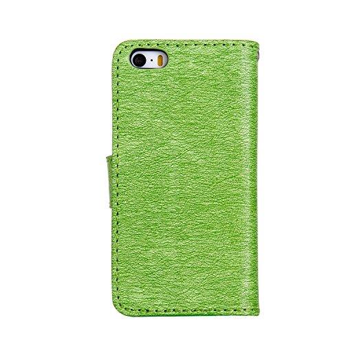 EKINHUI Case Cover Für Apple IPhone 5s SE Fall, geprägtes Mädchen Muster Strass Premium PU Leder Geldbörse Fall Flip Stand Fall Deckung mit Halter & Lanyard & Card Slots ( Color : Darkblue ) Green
