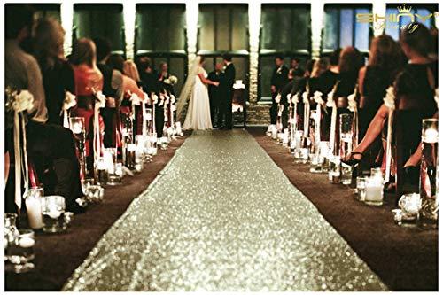 ShinyBeauty Hochzeit Aisle Runner Outdoor 125x600cm Matt Gold Pailletten Aisle Runner Dekoration Strand Hochzeit Hochzeit Gehweg Läufer,4FTx20FT