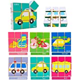 Happy GiftMart 9 Piece Colorful Wooden Block Picture Puzzle For Toddlers And Small Children / Baby Vehicles Cars