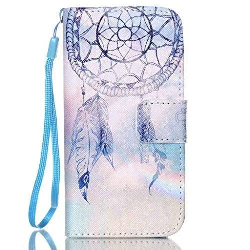 Galaxy S3 Mini Hülle, Yihya Ledertasche Schutzhülle Case Tasche PU Leder Lederhülle Flip Cover Handyhülle mit Standfunktion und Karte Halter für Samsung S3 Mini i8190 mit Stift - Muster Feder