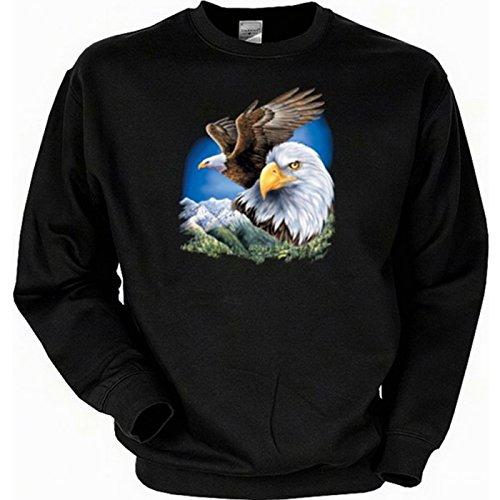 Biker Sweatshirt Sweater mit Indianer Aufdruck: Zwei Adler - lässiges USA Motiv (Adler Pullover)